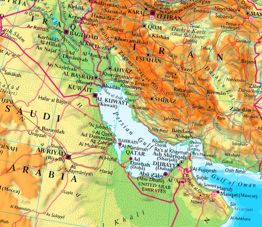 Persian Gulf physical map