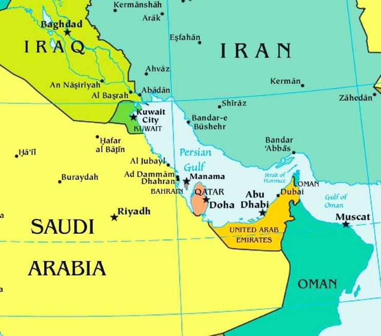 Persian Gulf political map