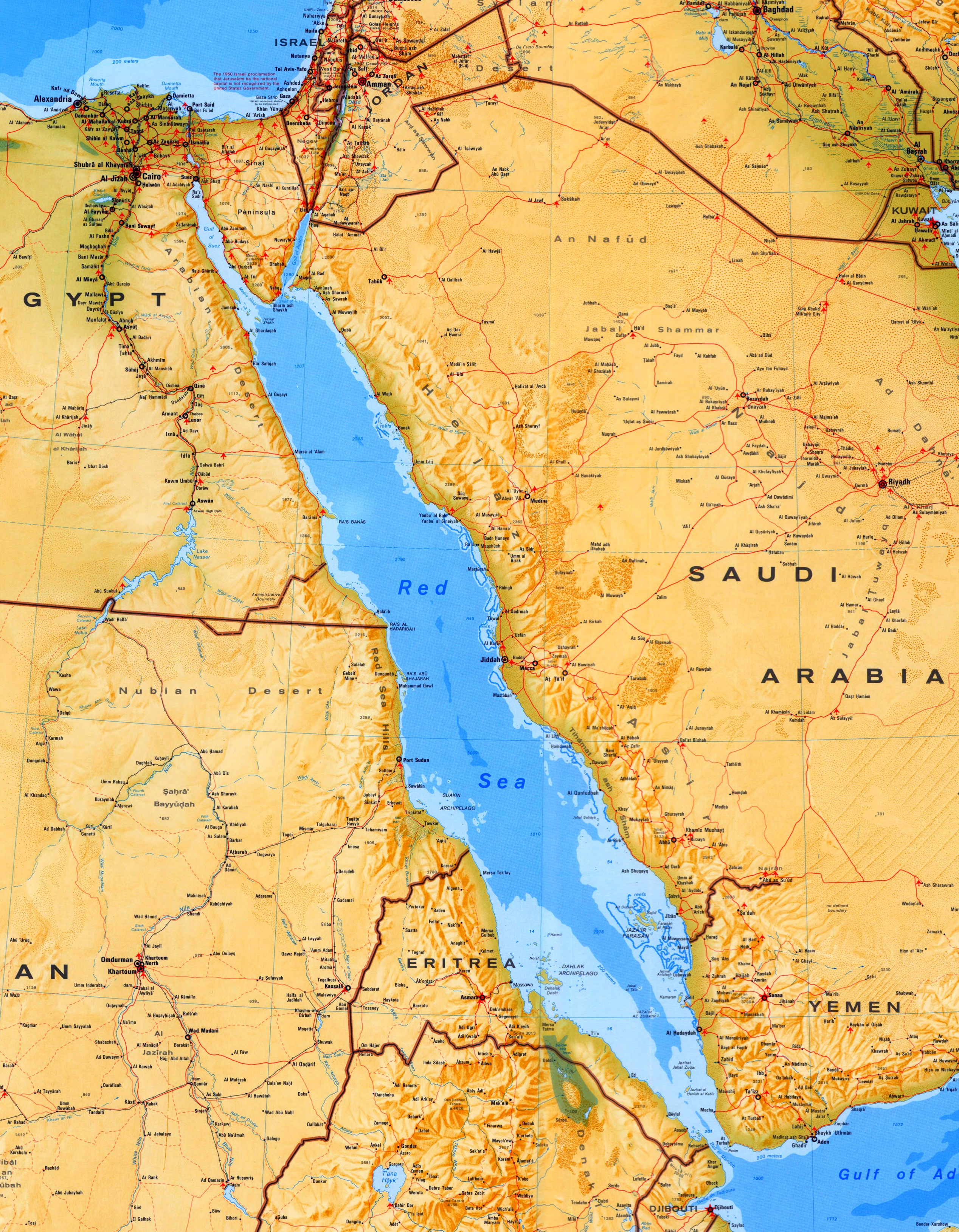 Red Sea Map Large detailed map of Red Sea with cities and towns Red Sea Map