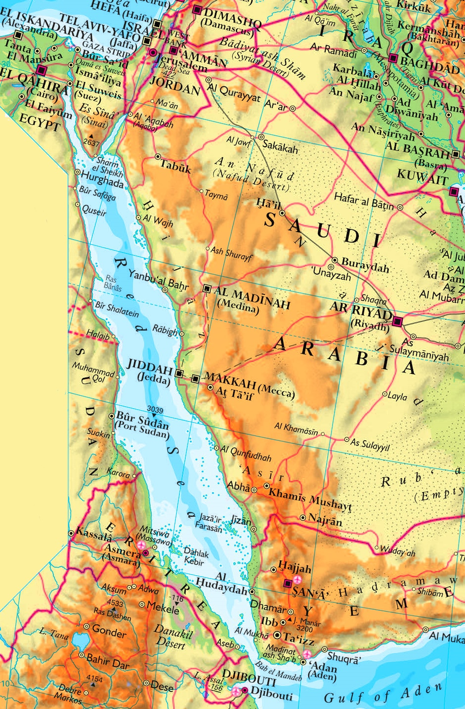 Map Of Red Sea Red Sea physical map