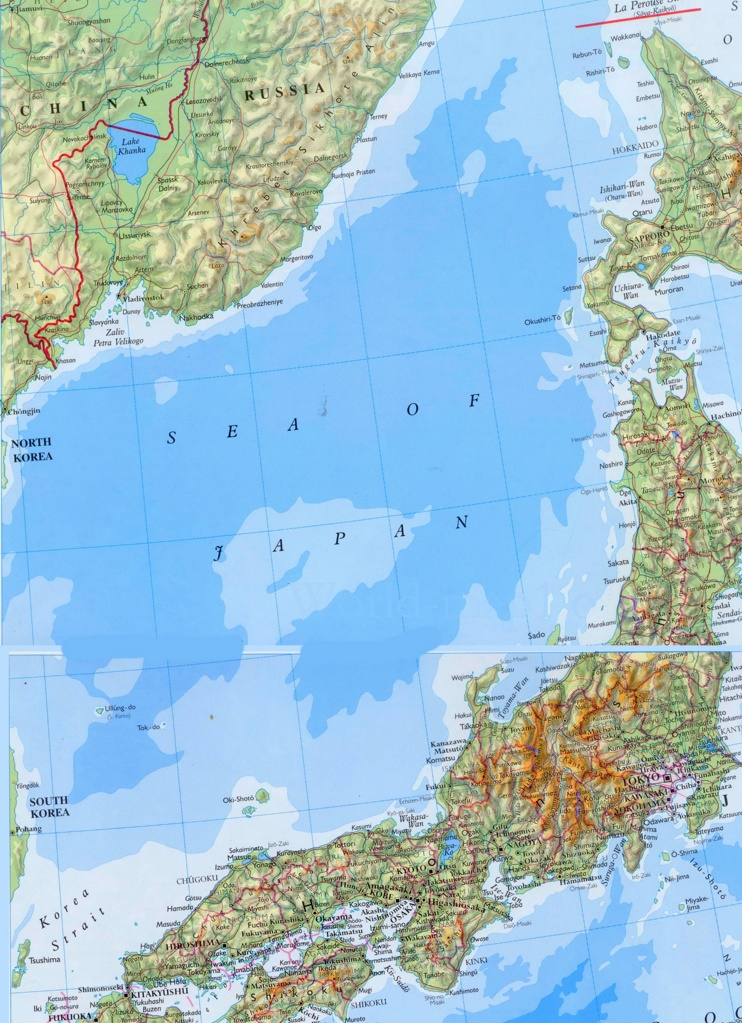 Detailed Map Of Sea Of Japan With Cities And Towns
