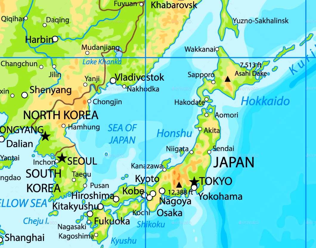 Sea Of Japan Map Sea of Japan physical map