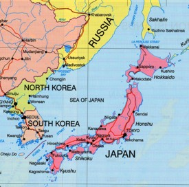 Sea of Japan political map