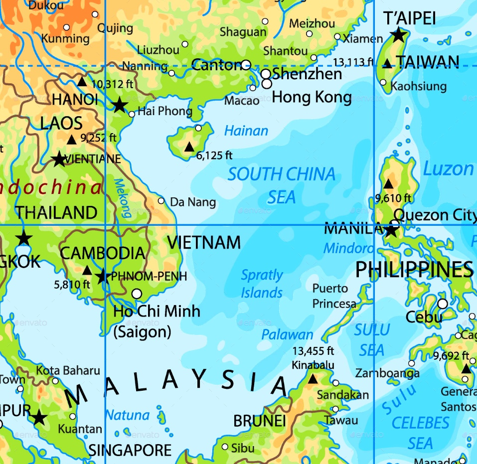 map of china sea South China Sea Physical Map map of china sea
