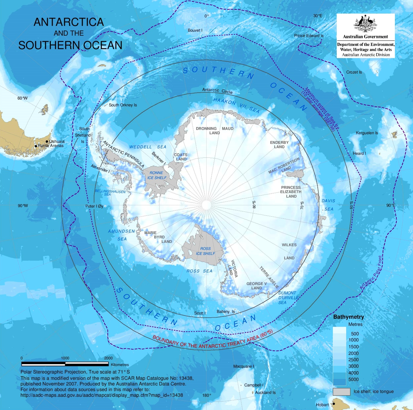 Southern Ocean Map Detailed map of Southern Ocean