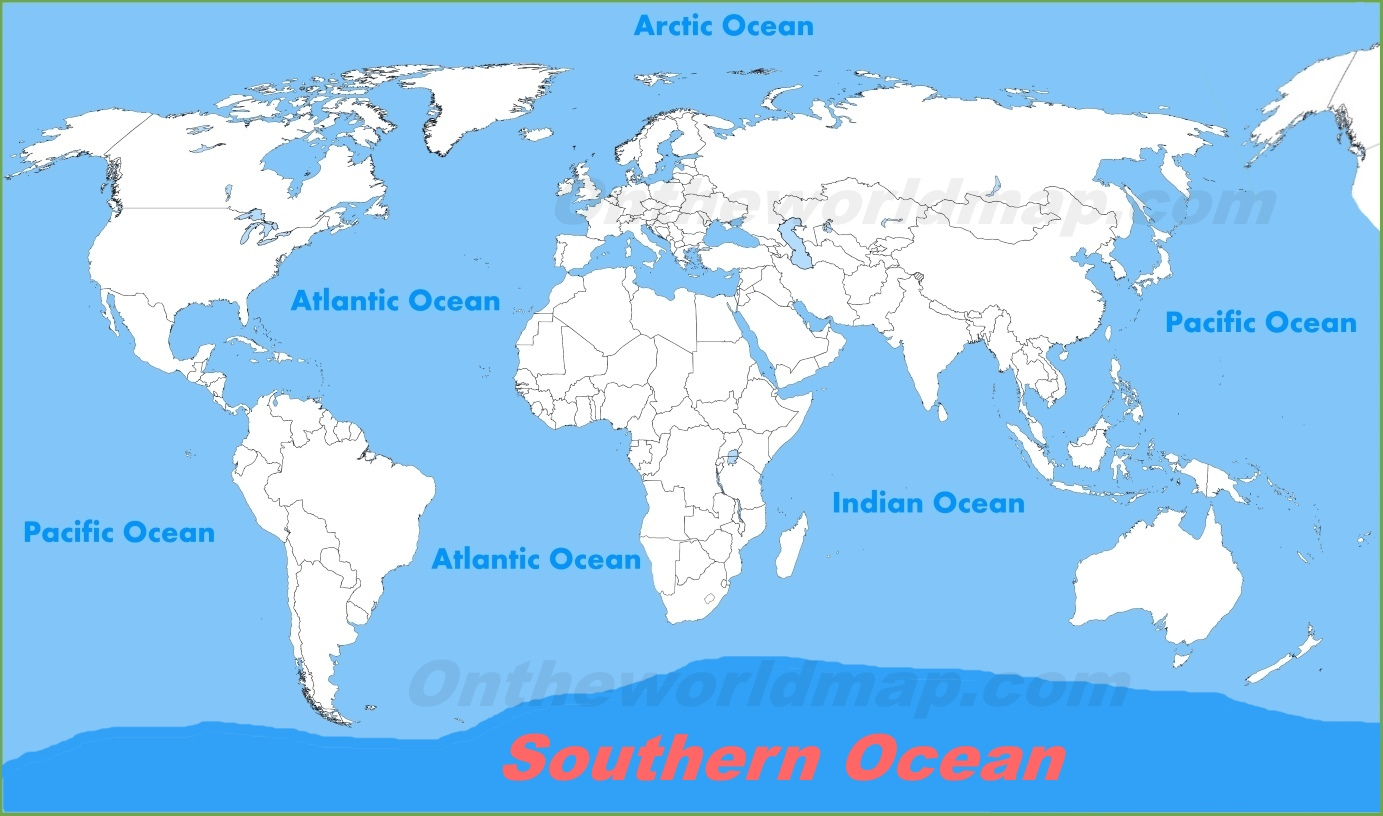 Oceans On A Map Southern Ocean location on the World Map Oceans On A Map