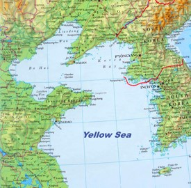 Large detailed map of Yellow Sea