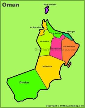 Administrative divisions map of Oman