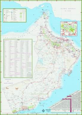 Large detailed tourist map of Oman