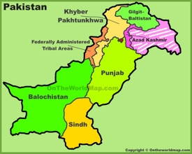 Administrative divisions map of Pakistan