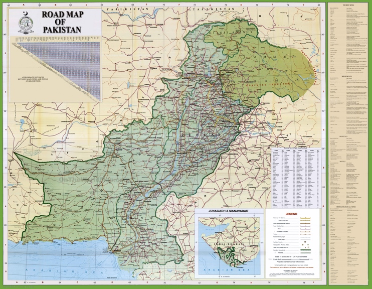 Large detailed map of Pakistan with cities and towns