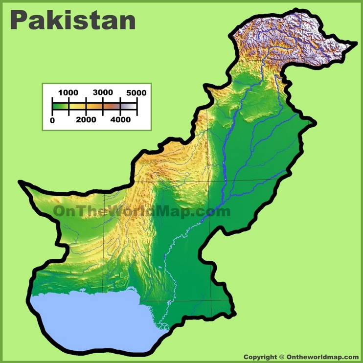 Pakistan physical map