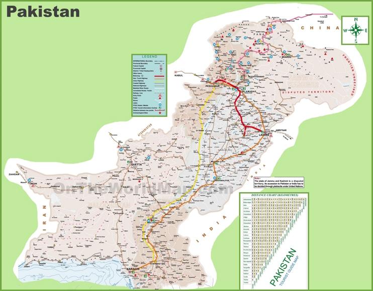 Pakistan tourist map