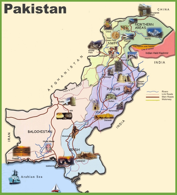 Travel map of Pakistan
