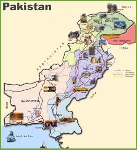 Travel map of Pakistan