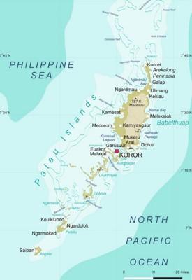 Detailed map of Palau