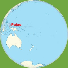 Palau location on the Pacific Ocean map