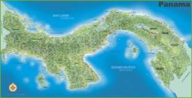 Large detailed map of Panama with cities and towns