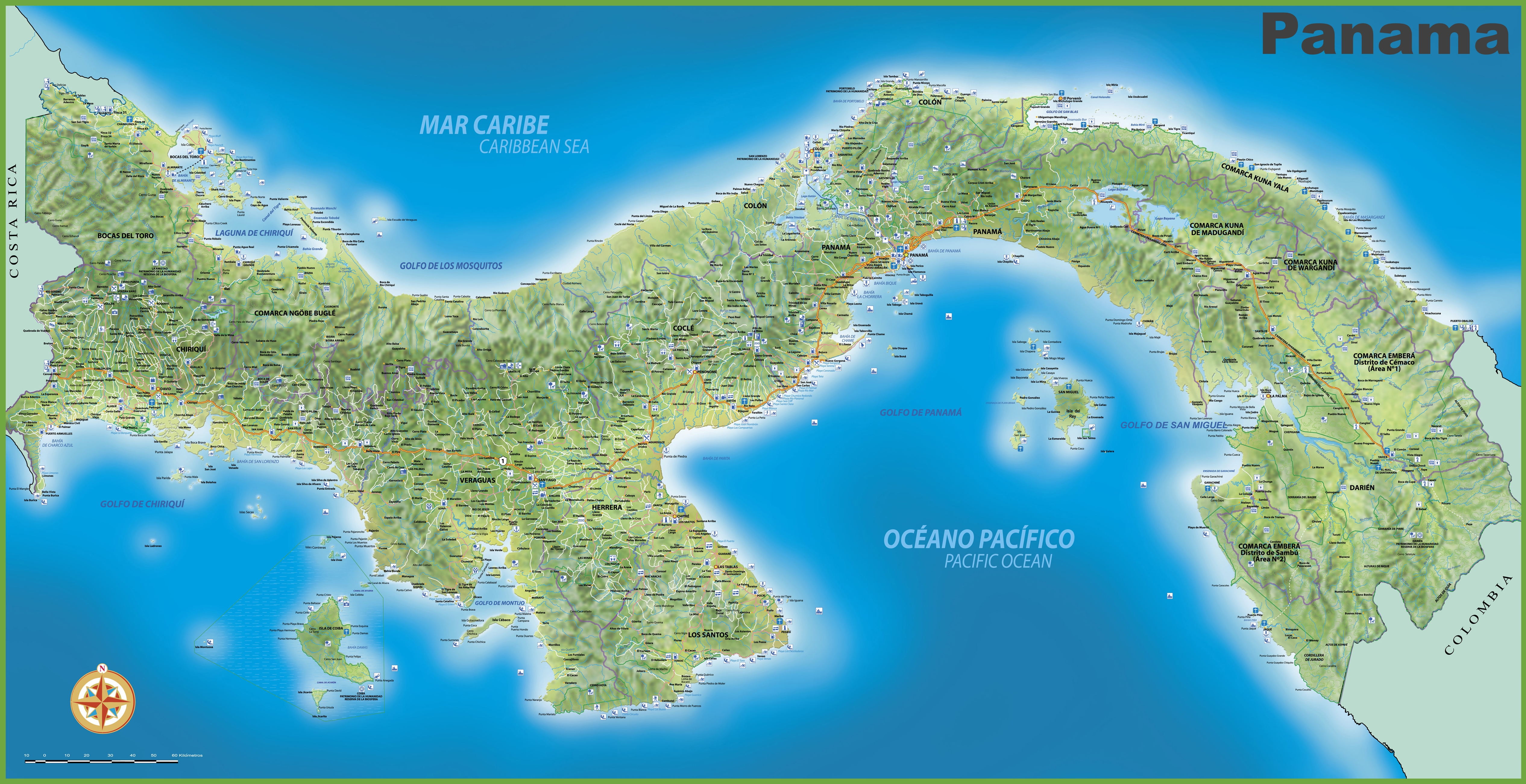 . large detailed map of panama with cities and towns