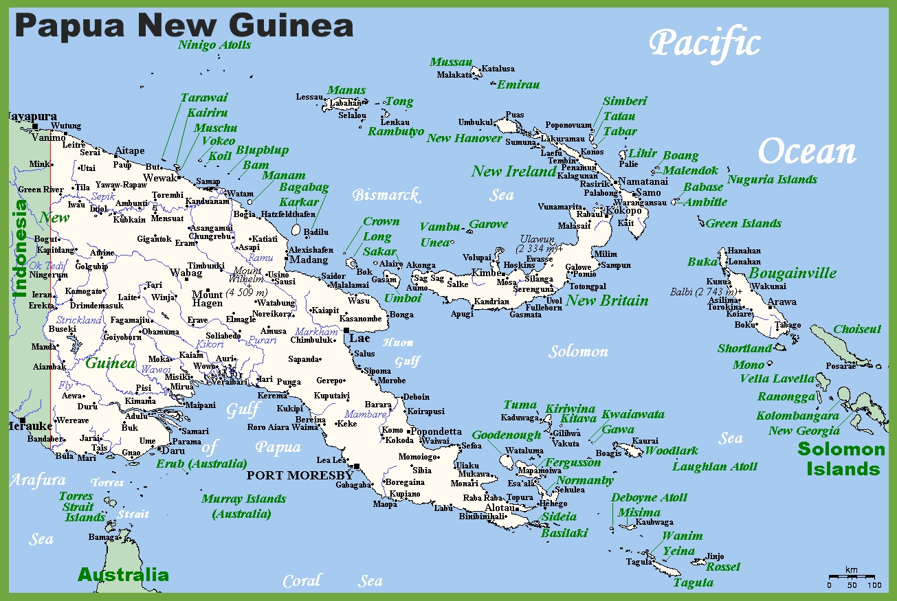 Map of Papua New Guinea with cities and towns