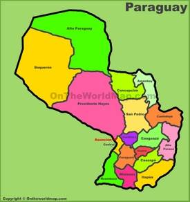 Administrative divisions map of Paraguay