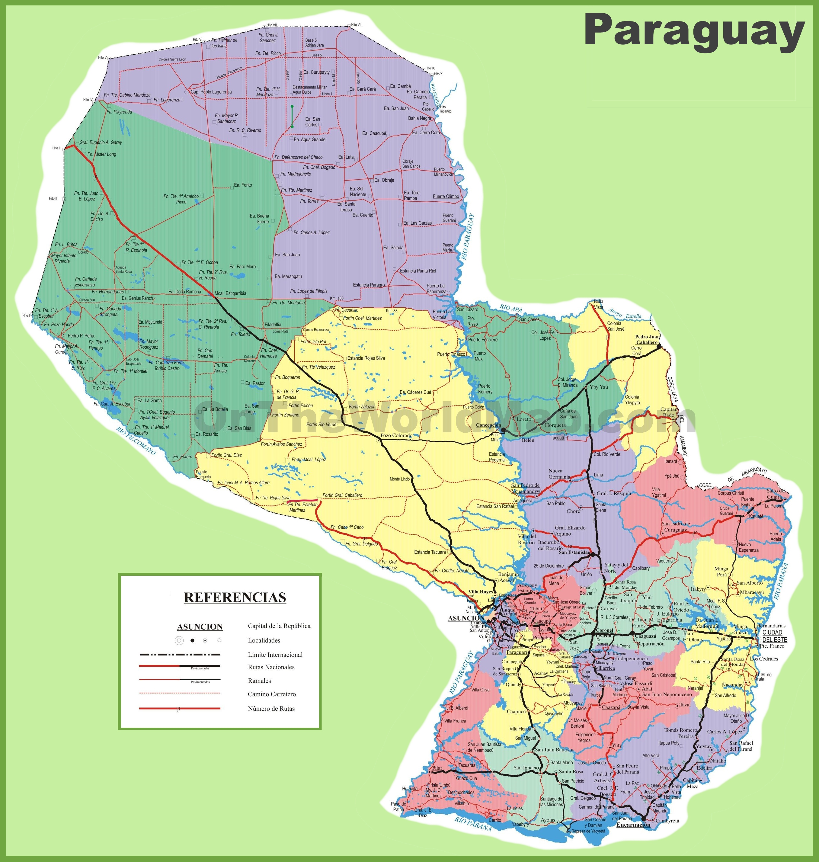 Large detailed map of Paraguay with cities and towns