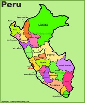 Administrative divisions map of Peru