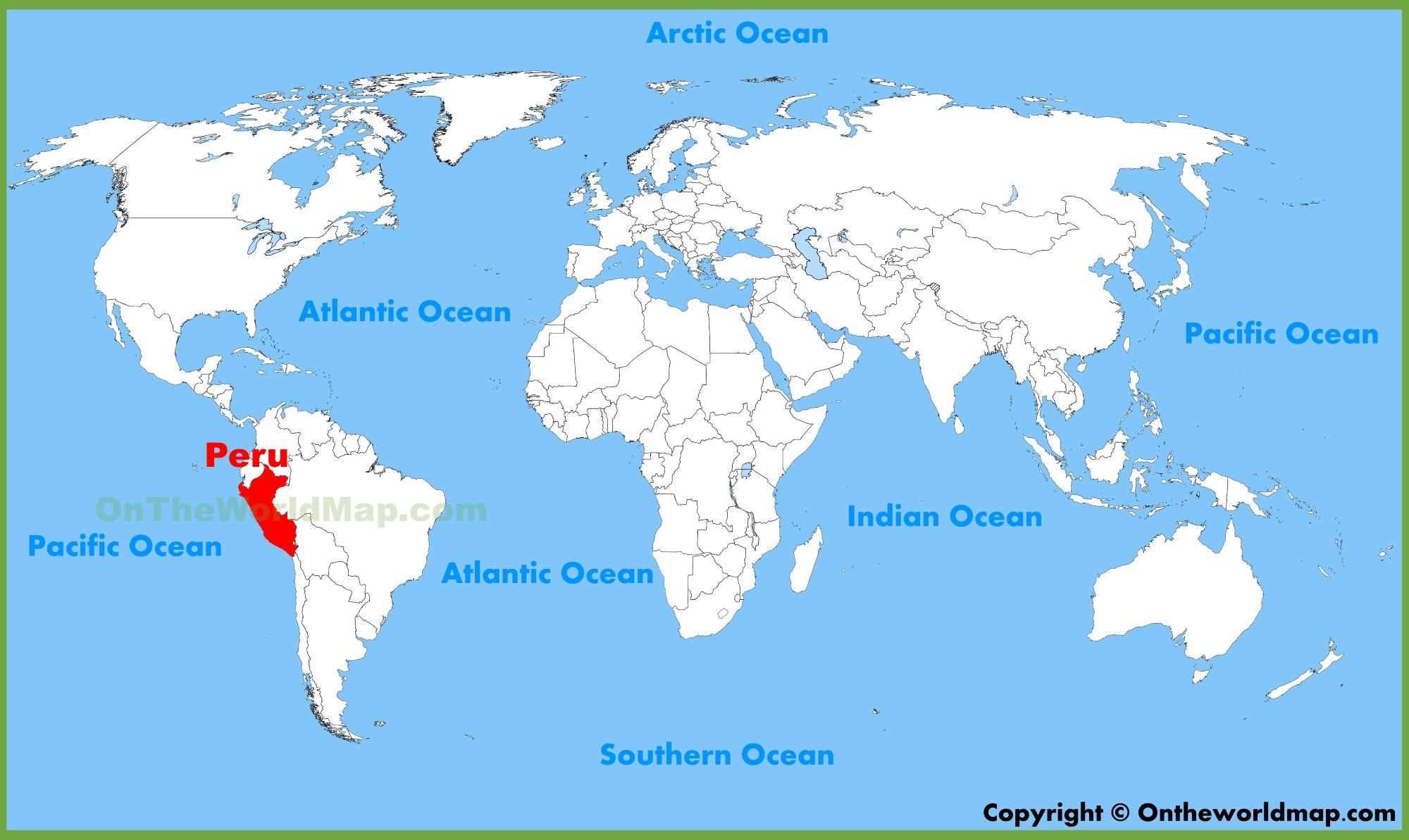 Peru On Map Peru On World Map