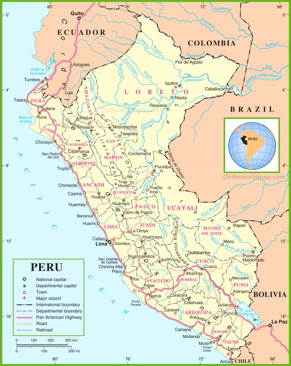 It is a picture of Zany Printable Map of Peru