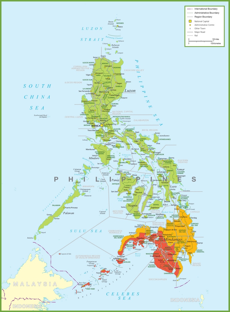 Large detailed map of Philippines