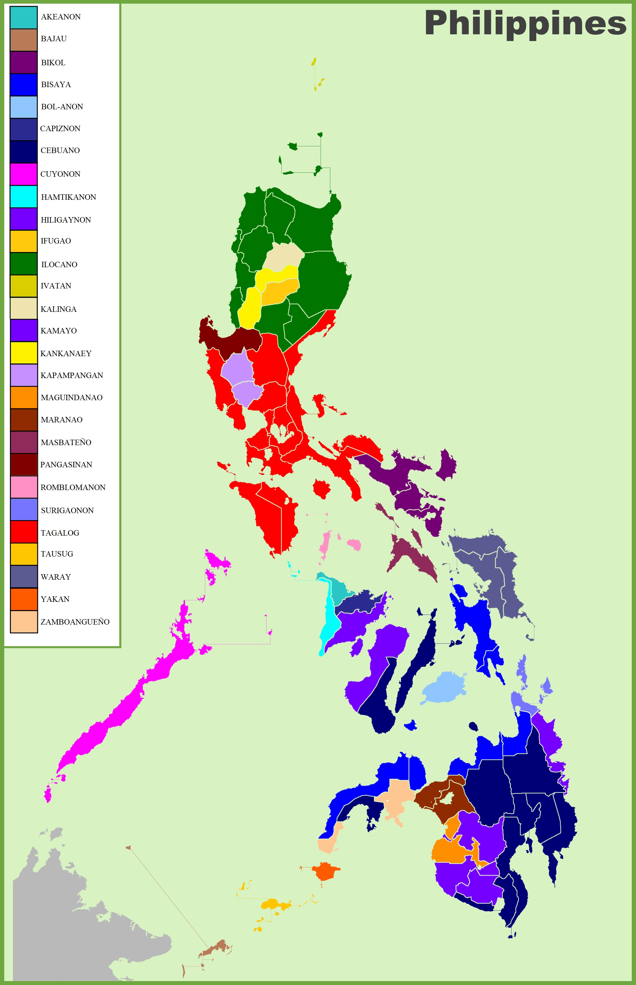 Map of ethnic groups in Philippines