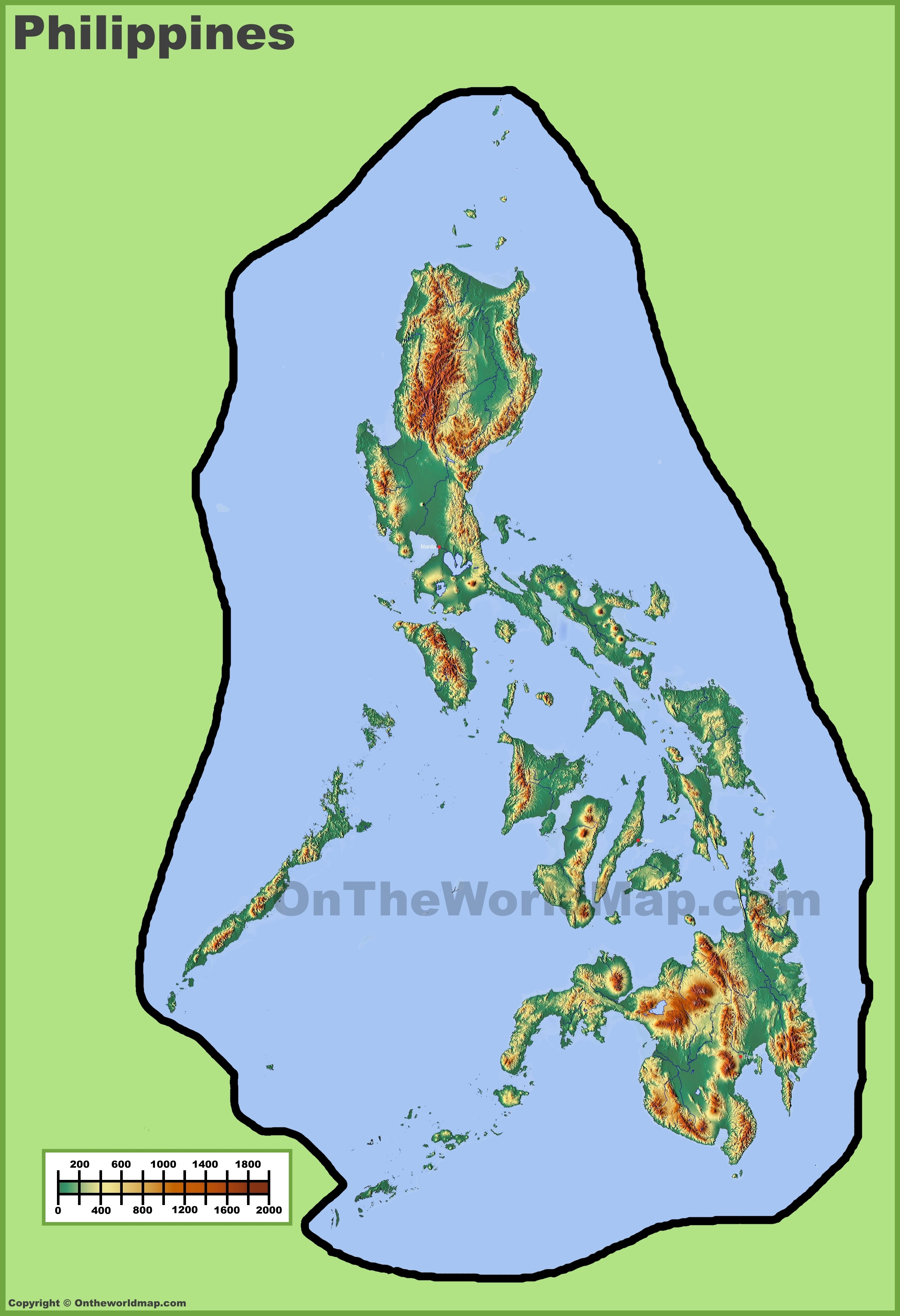 Philippines Physical Map - Map philippines