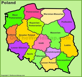 Administrative divisions map of Poland