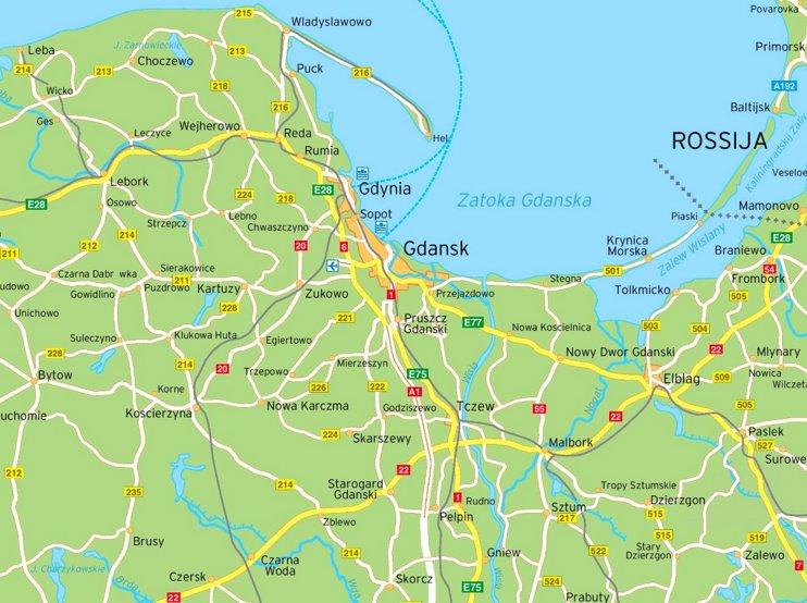 Gdańsk area road map
