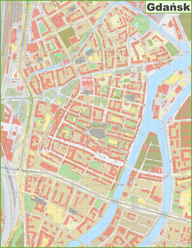Gdańsk city center map