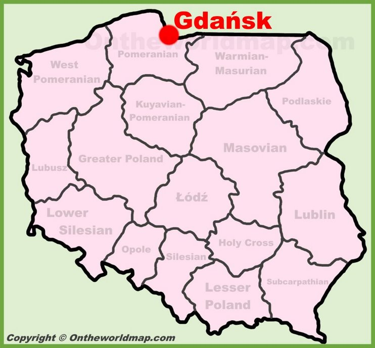 Gdańsk location on the Poland map
