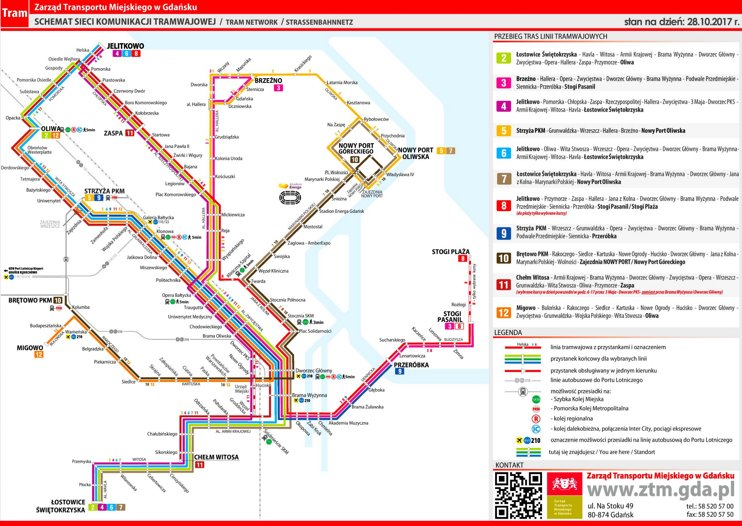 Gdańsk tram map