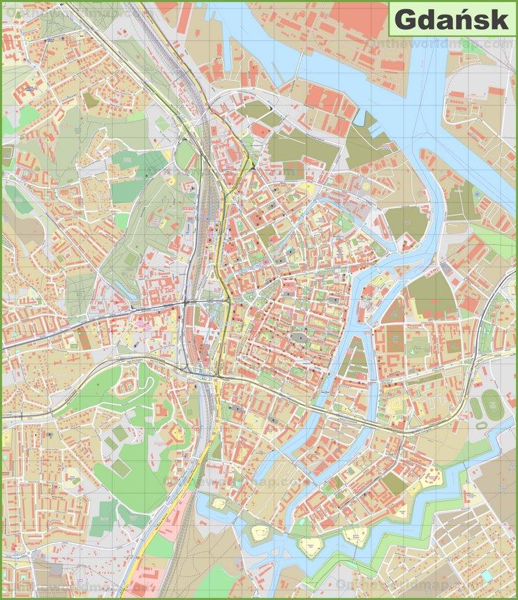 Large detailed map of Gdańsk