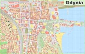 Gdynia city center map