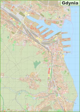 Large detailed map of Gdynia