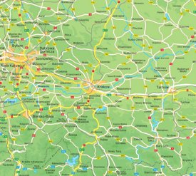 Kraków area road map