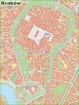 Kraków old town map