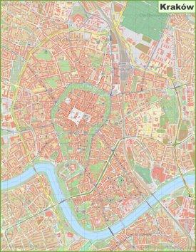 Large detailed map of Kraków