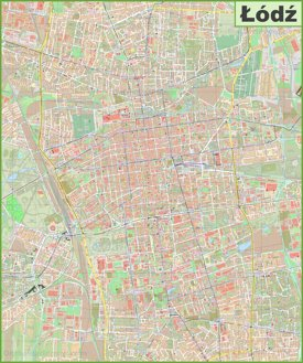 Large detailed map of Lodz