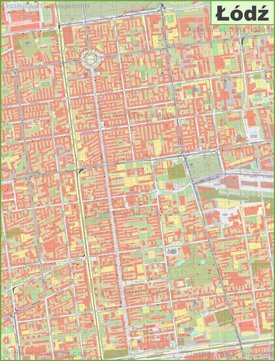 Lodz city center map