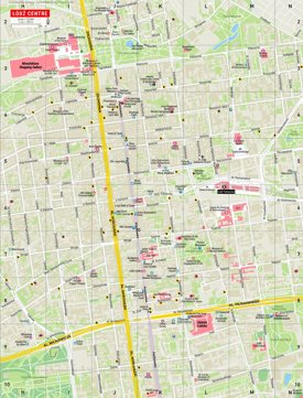 Lodz city center tourist map