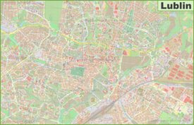 Large detailed map of Lublin