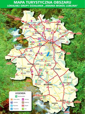 Tourist map of surroundings of Lublin
