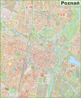 Large detailed map of Poznań