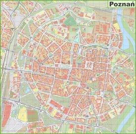 Poznań city center map